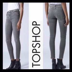 TOPSHOP Gray Moto Grey Ripped Jamie Jeans